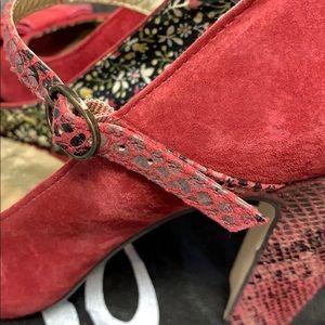 Seychelles Shoes - Anthropologie Seychelles Red Suede Maryjane Heels